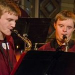 JC Wright playing saxophone with fellow SPARC student