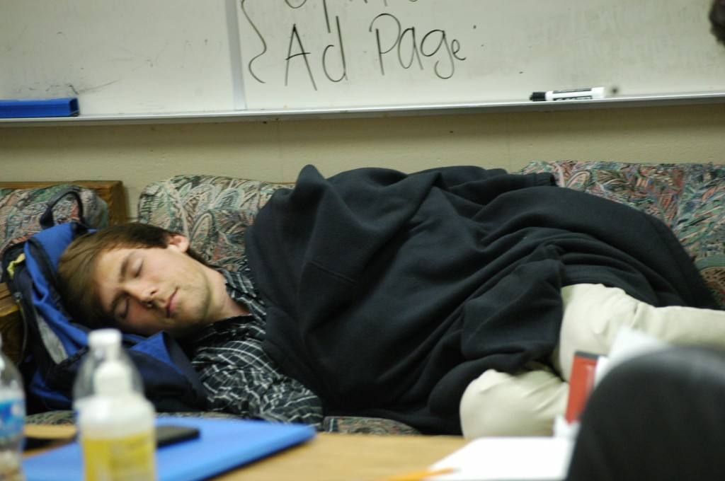 Senior Brent Schlesman naps in the publications room after a taxing lunch period.