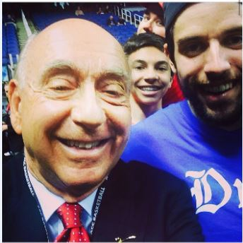 Sophomore Nick Grossman photo bombs a selfie of ESPN commentator Dick Vitale.