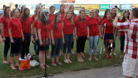 Chorus sings at Flying Squirrels game