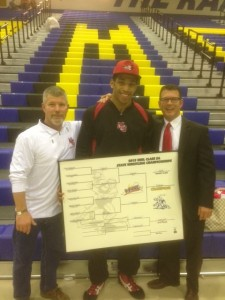 Justice Williams(middle) and Coach Harris(right) celebrating Justices' state championship