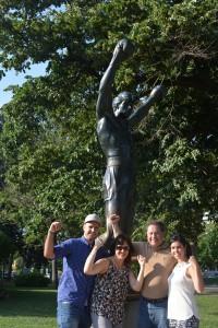 Spanish teacher Marina Andueza and family next to the Rocky Balboa statue placed in 1980.