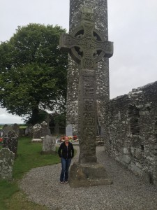 Math teacher Laurie Blanks visiting High Cross at Monasterboice in Ireland.