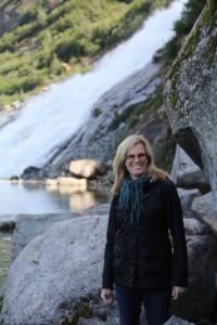 English Teacher Mary Mordica visits Mendenhall Glacier in Juneau, Alaska.