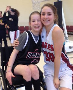 Photo courtesy Maggie Blackmon Maggie Blackmon (r) with player Hanna Smith after a basketball game