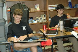 Photo Julia Grossman Henry Brown (l) and Noah Hull work on their math equation.