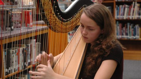 Senior Meghann Neale plays from the harp