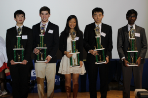photo courtesy MRSF Junior Kevin Rao, sophomore Lucas Mayhew, freshman Sabrina Ye, junior Michael Pang, and junior Pranav Neyveli (l to r) with trophies from Metro Richmond STEM Fair.
